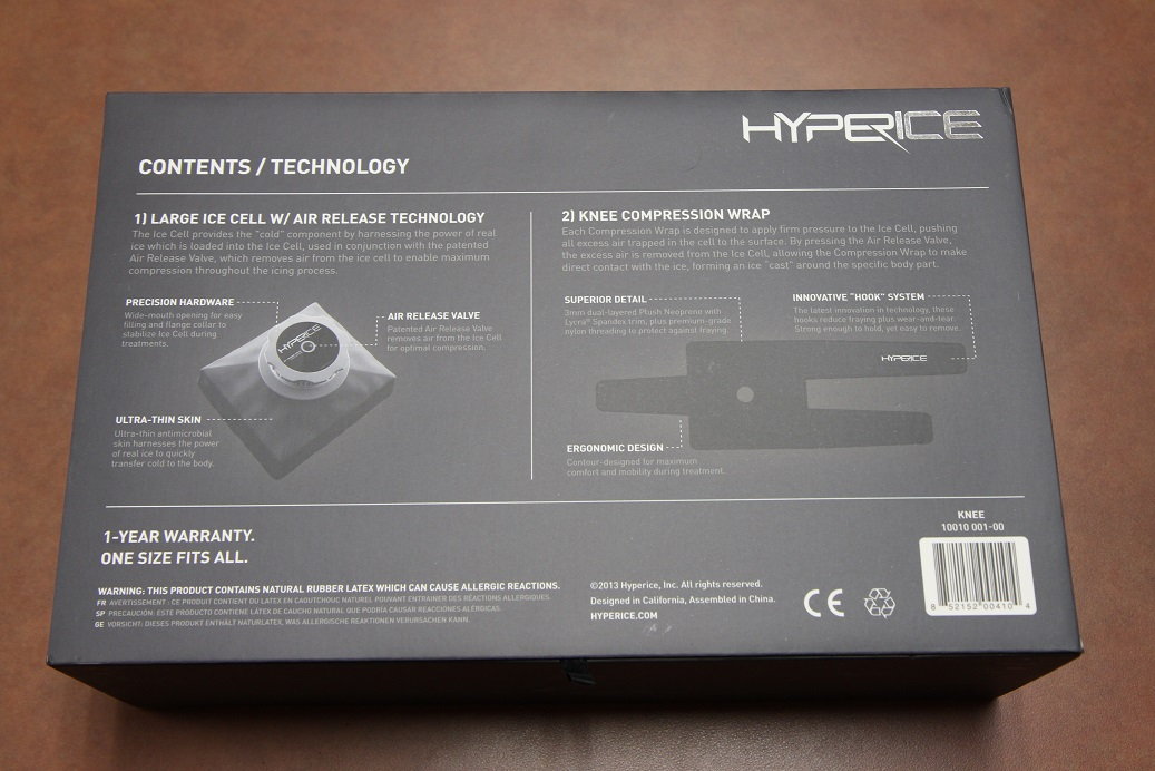 hyperice knee box, back side